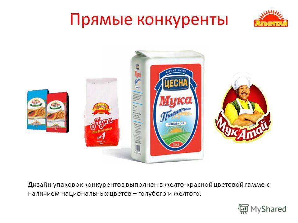 Прямые конкуренты Дизайн упаковок конкурентов выполнен в желто-красной цветовой гамме с наличием национальных цветов – голубого и желтого.