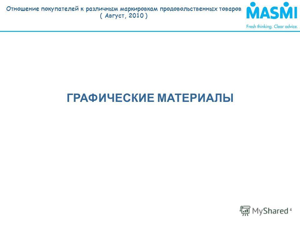 Отношение покупателей к различным маркировкам продовольственных товаров ( Август, 2010 ) 4 ГРАФИЧЕСКИЕ МАТЕРИАЛЫ
