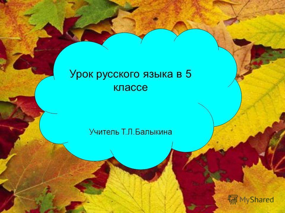 Урок русского языка в 5 классе Учитель Т.Л.Балыкина