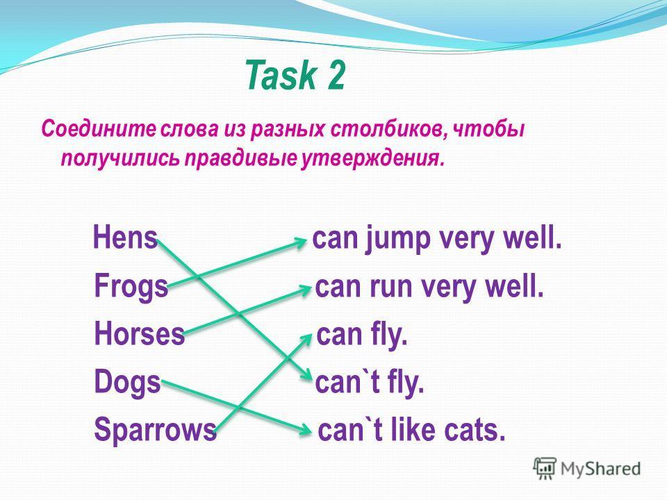 Task 2 Соедините слова из разных столбиков, чтобы получились правдивые утверждения. Hens can jump very well. Frogs can run very well. Horses can fly. Dogs can`t fly. Sparrows can`t like cats.