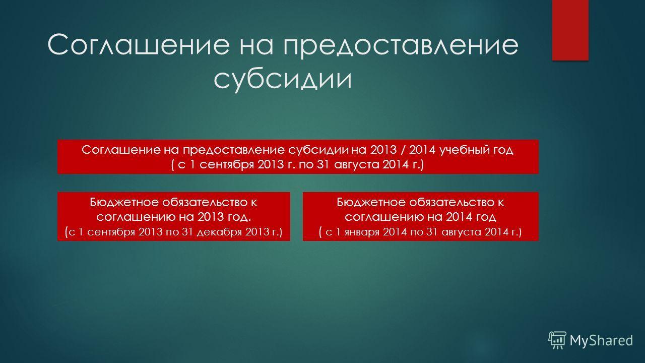 Соглашение на предоставление субсидии Соглашение на предоставление субсидии на 2013 / 2014 учебный год ( с 1 сентября 2013 г. по 31 августа 2014 г.) Бюджетное обязательство к соглашению на 2013 год. ( с 1 сентября 2013 по 31 декабря 2013 г.) Бюджетно