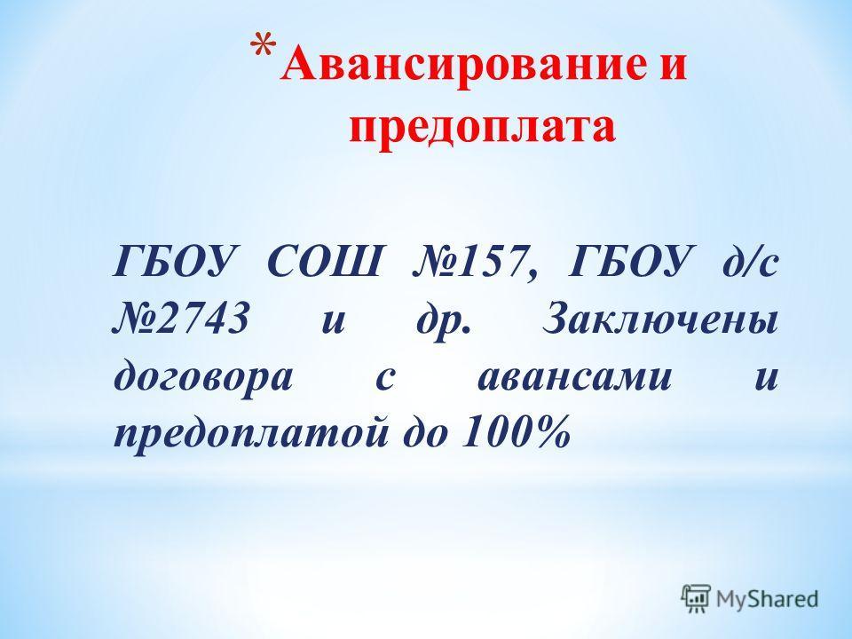 * Авансирование и предоплата ГБОУ СОШ 157, ГБОУ д/с 2743 и др. Заключены договора с авансами и предоплатой до 100%