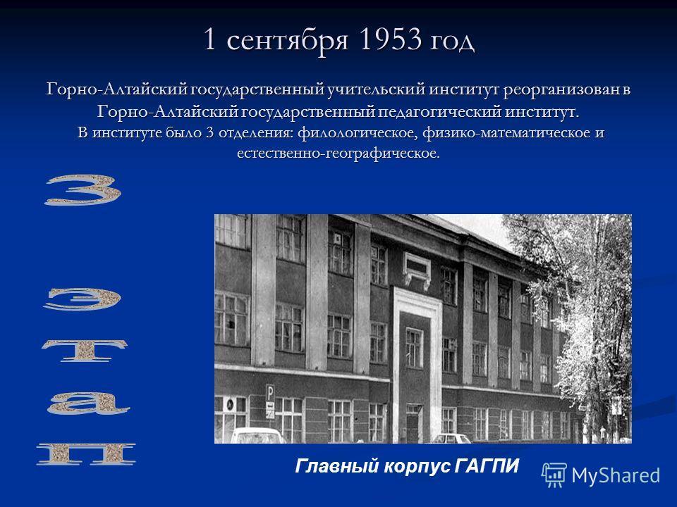 1 сентября 1953 год Горно-Алтайский государственный учительский институт реорганизован в Горно-Алтайский государственный педагогический институт. В институте было 3 отделения: филологическое, физико-математическое и естественно-географическое. Главны