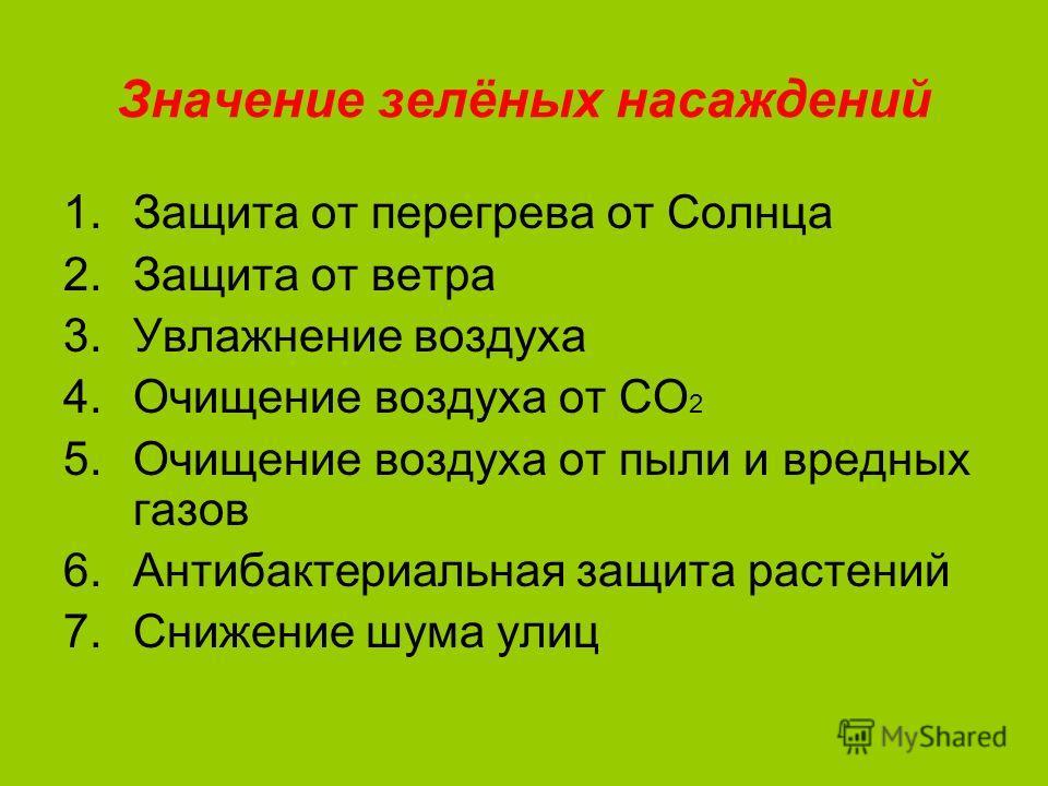 Значение зелёных насаждений 1.Защита от перегрева от Солнца 2.Защита от ветра 3.Увлажнение воздуха 4.Очищение воздуха от СО 2 5.Очищение воздуха от пыли и вредных газов 6.Антибактериальная защита растений 7.Снижение шума улиц