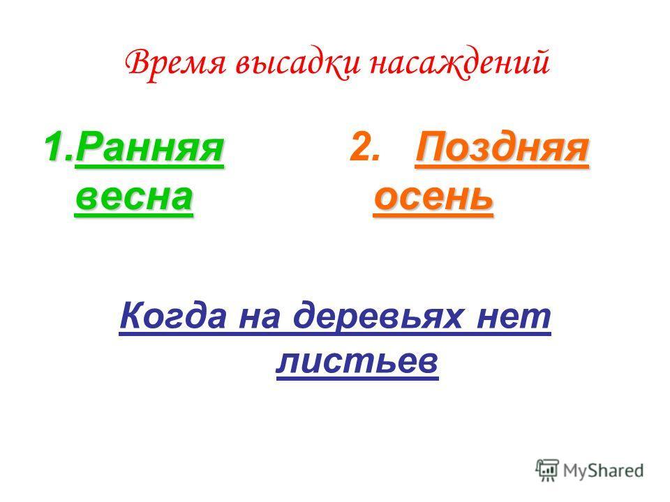 Время высадки насаждений 1.Ранняя весна Поздняя осень 2.Поздняя осень Когда на деревьях нет листьев