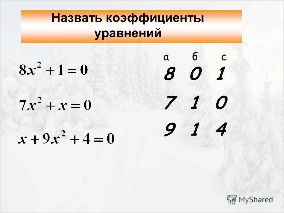 Назвать коэффициенты уравнений 8 0 1 7 1 0 9 1 4 а б с