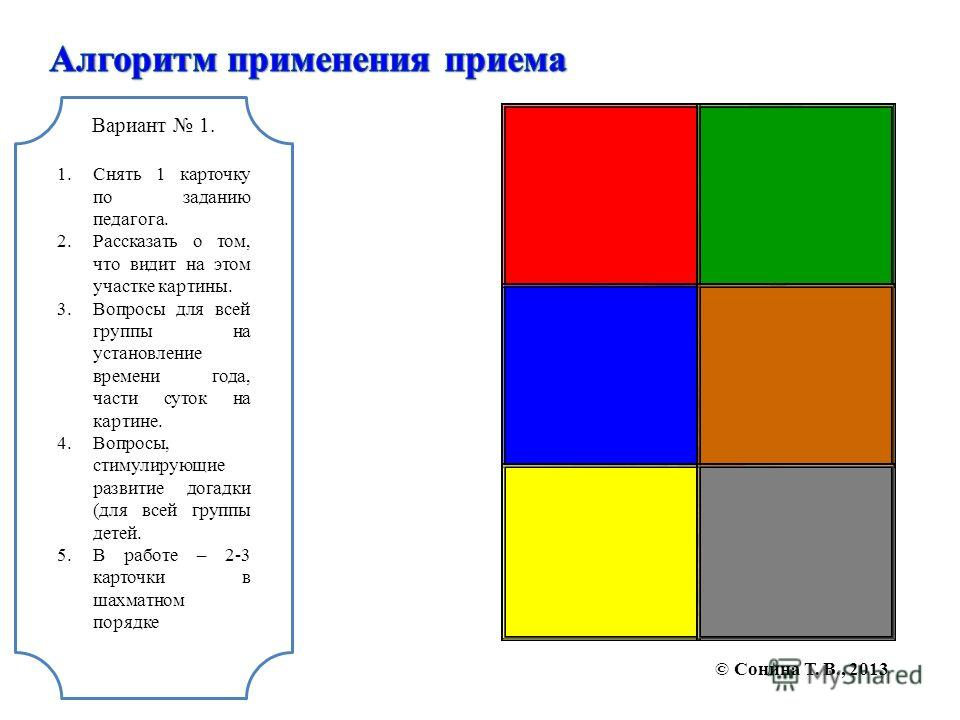 Вариант 1. 1.Снять 1 карточку по заданию педагога. 2.Рассказать о том, что видит на этом участке картины. 3.Вопросы для всей группы на установление времени года, части суток на картине. 4.Вопросы, стимулирующие развитие догадки (для всей группы детей
