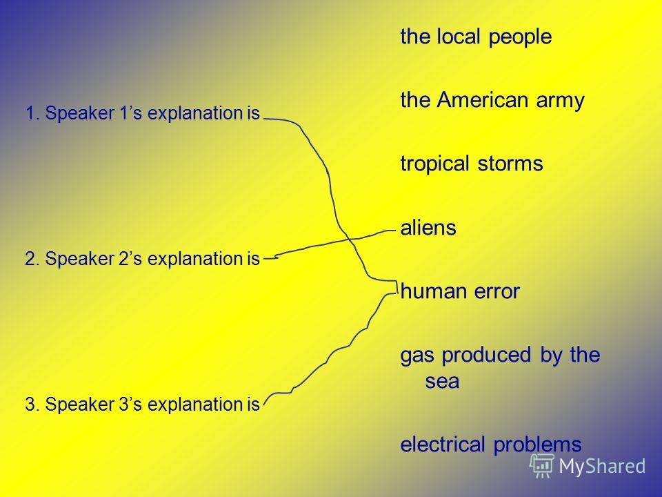 the local people the American army tropical storms aliens human error gas produced by the sea electrical problems 1. Speaker 1s explanation is 2. Speaker 2s explanation is 3. Speaker 3s explanation is
