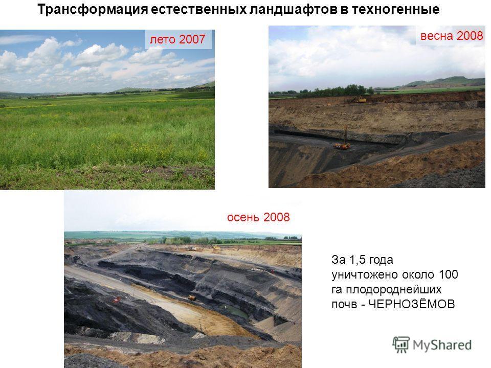 Трансформация естественных ландшафтов в техногенные лето 2007 весна 2008 осень 2008 За 1,5 года уничтожено около 100 га плодороднейших почв - ЧЕРНОЗЁМОВ