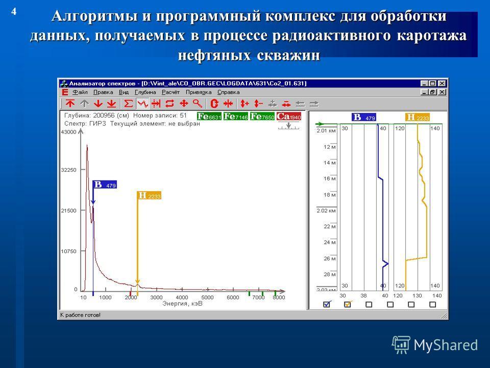 4 Алгоритмы и программный комплекс для обработки данных, получаемых в процессе радиоактивного каротажа нефтяных скважин