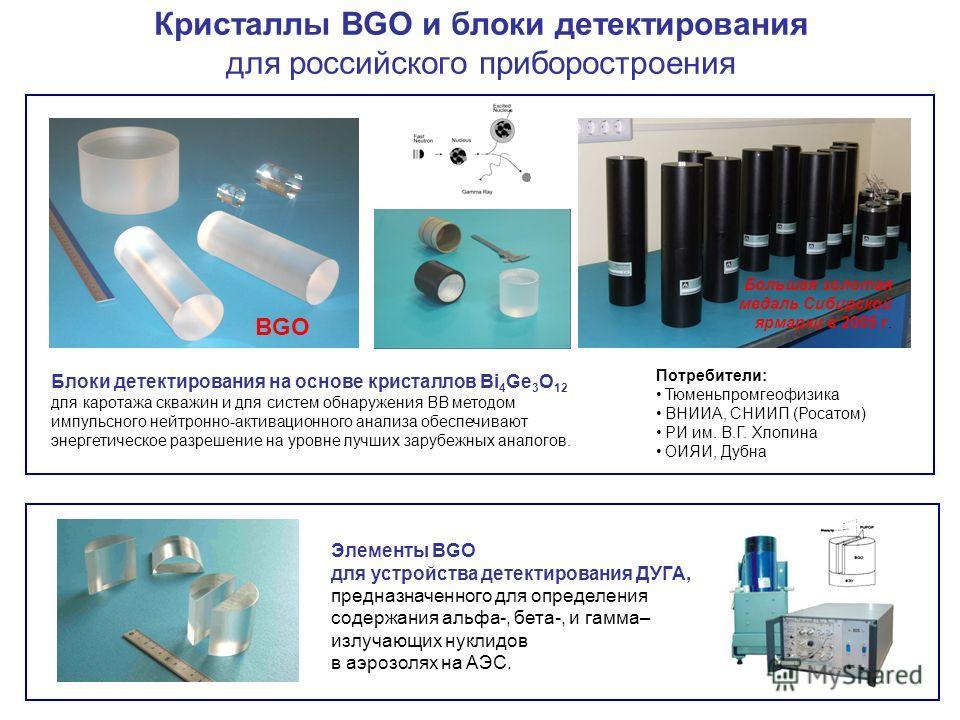 Блоки детектирования на основе кристаллов Bi 4 Ge 3 O 12 для каротажа скважин и для систем обнаружения ВВ методом импульсного нейтронно-активационного анализа обеспечивают энергетическое разрешение на уровне лучших зарубежных аналогов. Элементы BGO д