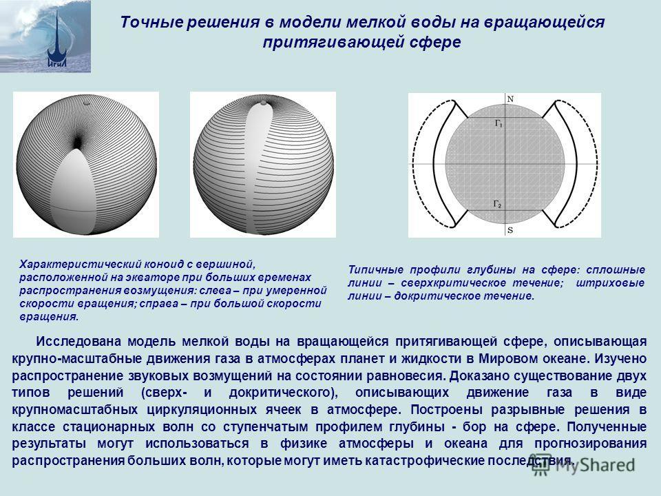 Исследована модель мелкой воды на вращающейся притягивающей сфере, описывающая крупно-масштабные движения газа в атмосферах планет и жидкости в Мировом океане. Изучено распространение звуковых возмущений на состоянии равновесия. Доказано существовани