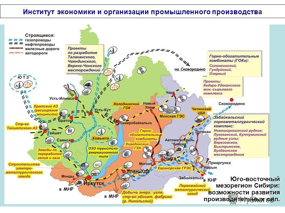 Юго-восточный мезорегион Сибири: возможности развития производительных сил. Институт экономики и организации промышленного производства