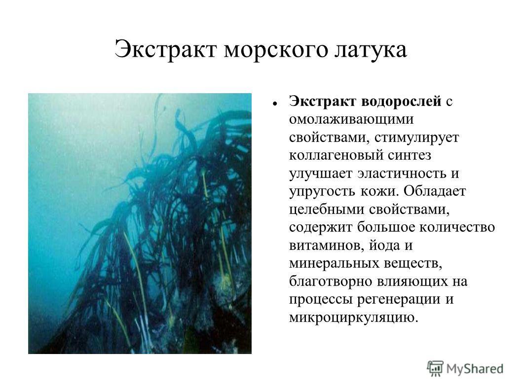 Экстракт морского латука Экстракт водорослей с омолаживающими свойствами, стимулирует коллагеновый синтез улучшает эластичность и упругость кожи. Обладает целебными свойствами, содержит большое количество витаминов, йода и минеральных веществ, благот