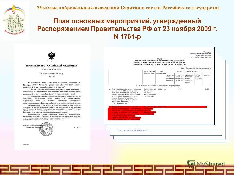 План основных мероприятий, утвержденный Распоряжением Правительства РФ от 23 ноября 2009 г. N 1761-р 350 - летие добровольного вхождения Бурятии в состав Российского государства