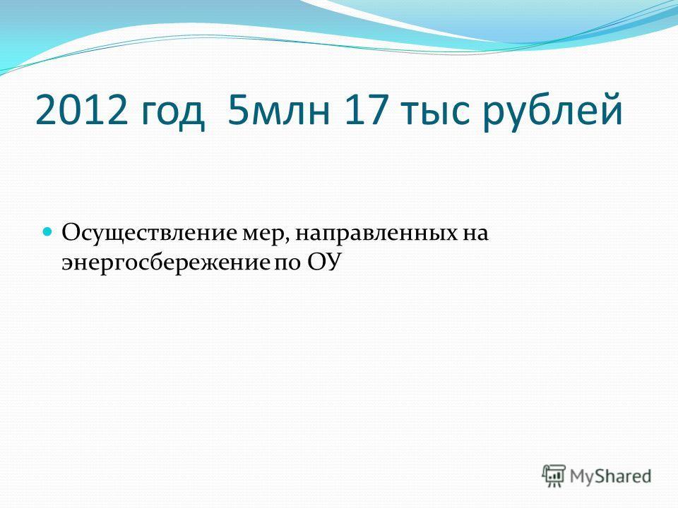 2012 год 5млн 17 тыс рублей Осуществление мер, направленных на энергосбережение по ОУ
