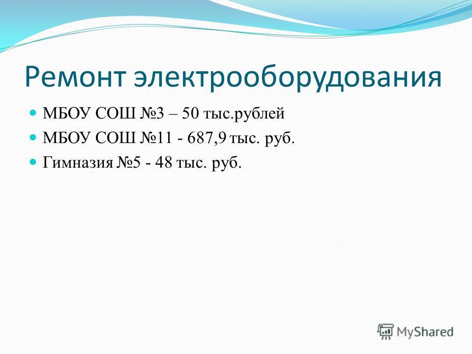 Ремонт электрооборудования МБОУ СОШ 3 – 50 тыс.рублей МБОУ СОШ 11 - 687,9 тыс. руб. Гимназия 5 - 48 тыс. руб.