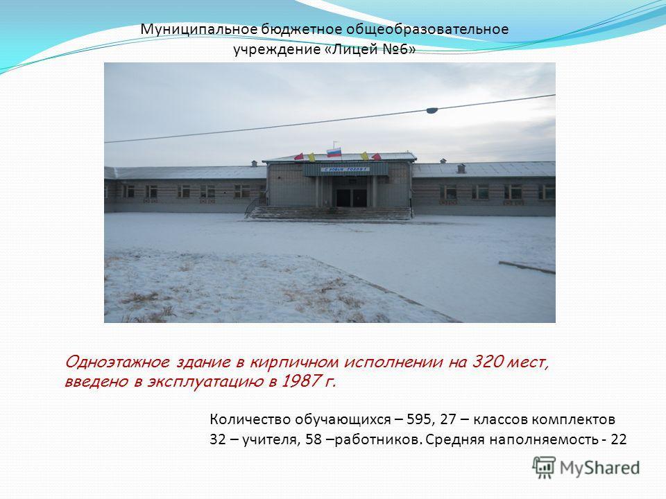 Муниципальное бюджетное общеобразовательное учреждение «Лицей 6» Одноэтажное здание в кирпичном исполнении на 320 мест, введено в эксплуатацию в 1987 г. Количество обучающихся – 595, 27 – классов комплектов 32 – учителя, 58 –работников. Средняя напол
