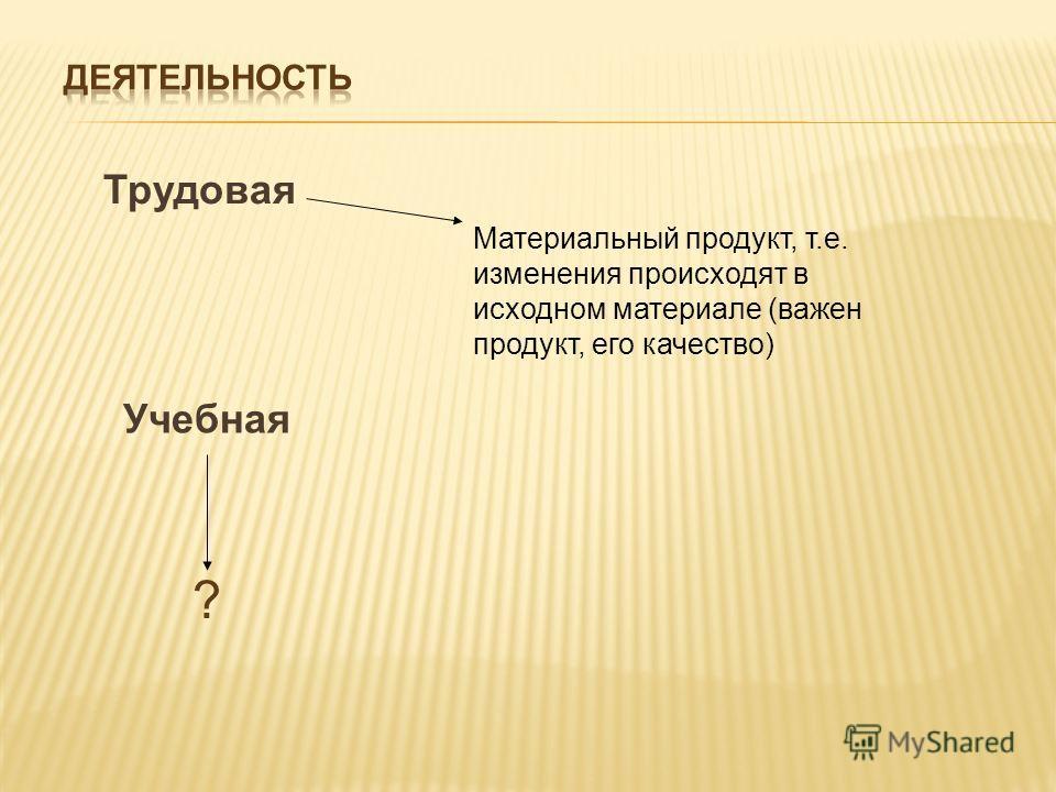 Трудовая Материальный продукт, т.е. изменения происходят в исходном материале (важен продукт, его качество) Учебная ?