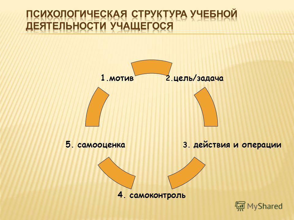 2.цель/задача 3. действия и операции 4. самоконтроль 5. самооценка 1.мотив