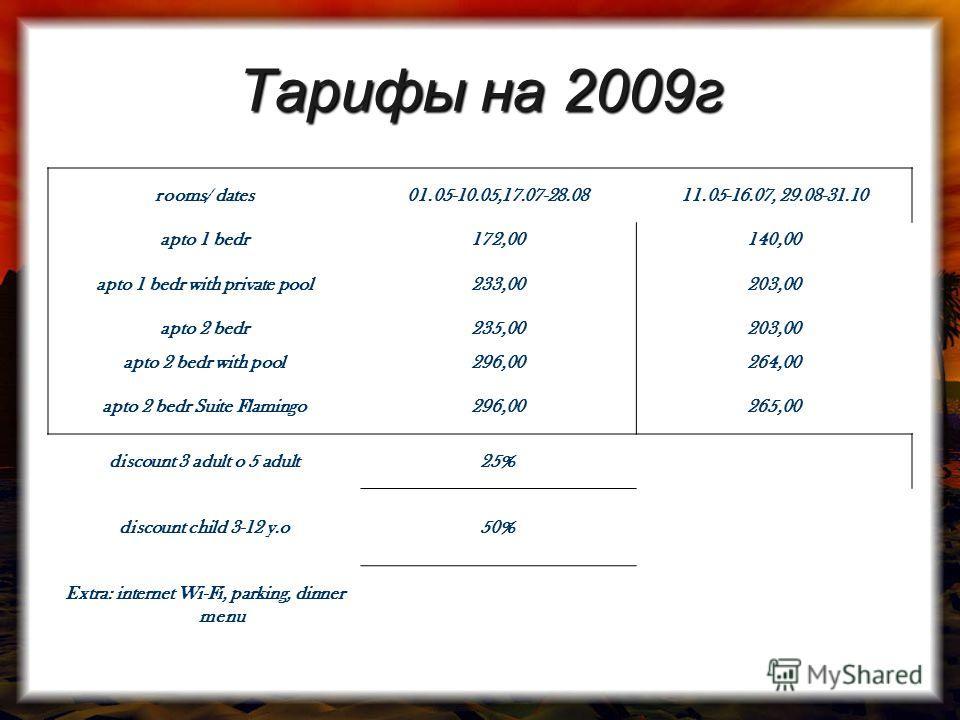 Тарифы на 2009г rooms/ dates01.05-10.05,17.07-28.0811.05-16.07, 29.08-31.10 apto 1 bedr172,00140,00 apto 1 bedr with private pool233,00203,00 apto 2 bedr235,00203,00 apto 2 bedr with pool296,00264,00 apto 2 bedr Suite Flamingo296,00265,00 discount 3