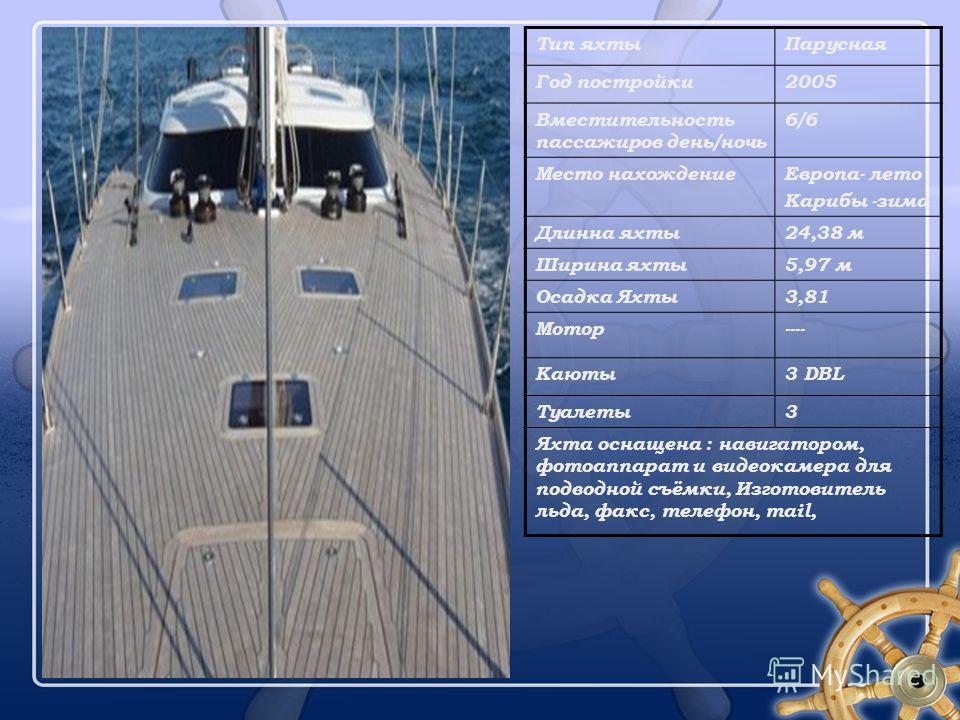 Тип яхтыПарусная Год постройки2005 Вместительность пассажиров день/ночь 6/6 Место нахождениеЕвропа- лето Карибы -зима Длинна яхты24,38 м Ширина яхты5,97 м Осадка Яхты3,81 Мотор---- Каюты3 DBL Туалеты3 Яхта оснащена : навигатором, фотоаппарат и видеок