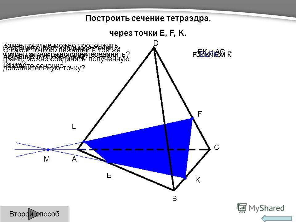 E F K L A B C M D Какие точки можно сразу соединить? С какой точкой, лежащей в той же грани, можно соединить полученную дополнительную точку? Какие прямые можно продолжить, чтобы получить дополнительную точку ? F и K, Е и К ЕК и АС С точкой F Соедини