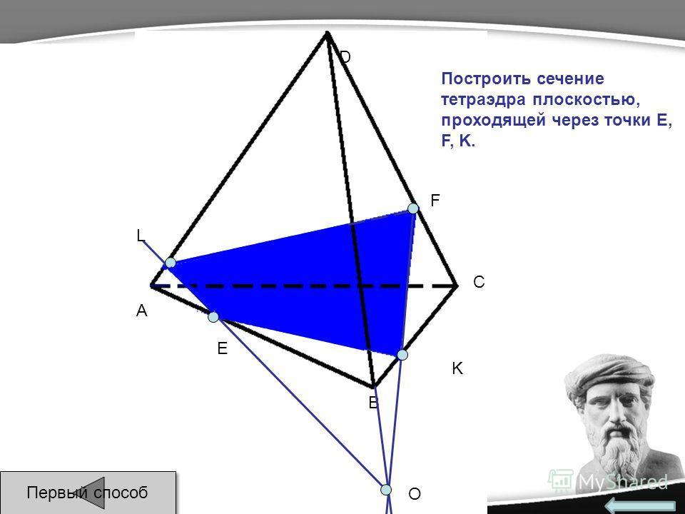 E F L A B C D О Построить сечение тетраэдра плоскостью, проходящей через точки E, F, K. K Первый способ