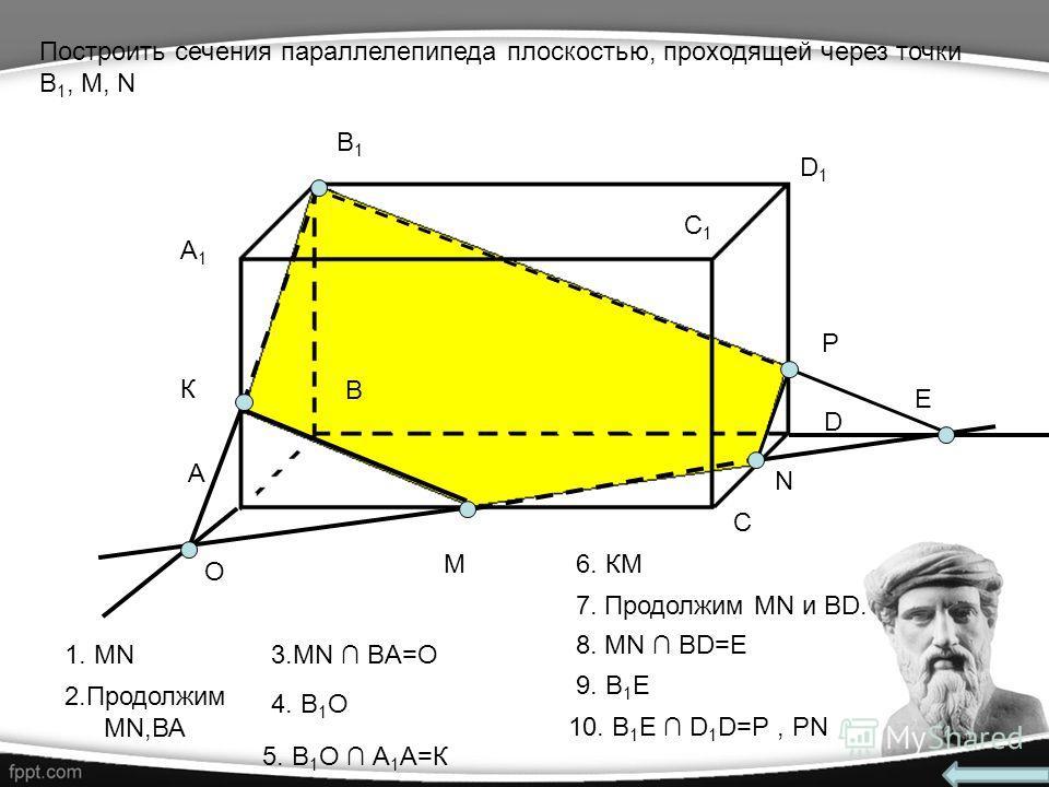 A1A1 А В В1В1 С С1С1 D D1D1 M N Построить сечения параллелепипеда плоскостью, проходящей через точки В 1, М, N O К Е P 1. MN 2.Продолжим MN,ВА 4. В 1 О 6. КМ 7. Продолжим MN и BD. 9. В 1 E 5. В 1 О А 1 А=К 8. MN BD=E 10. B 1 Е D 1 D=P, PN 3.MN BA=O
