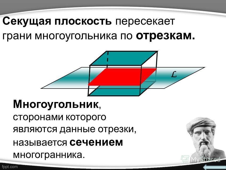 Секущая плоскость пересекает грани многоугольника по отрезкам. Многоугольник, сторонами которого являются данные отрезки, называется сечением многогранника. L