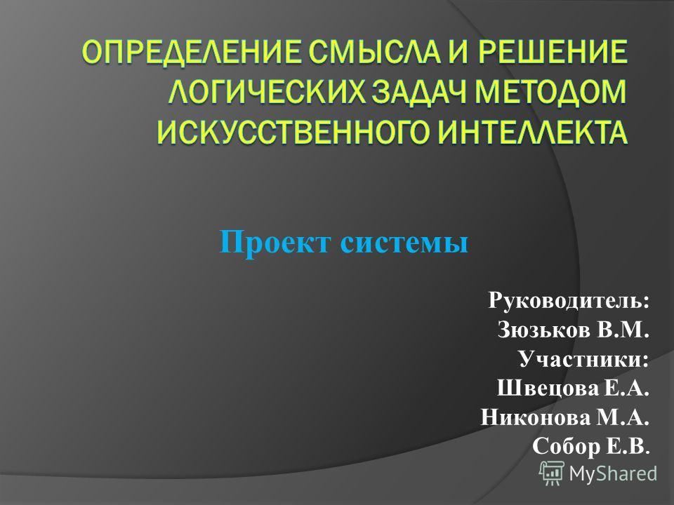Проект системы Руководитель: Зюзьков В.М. Участники: Швецова Е.А. Никонова М.А. Собор Е.В.