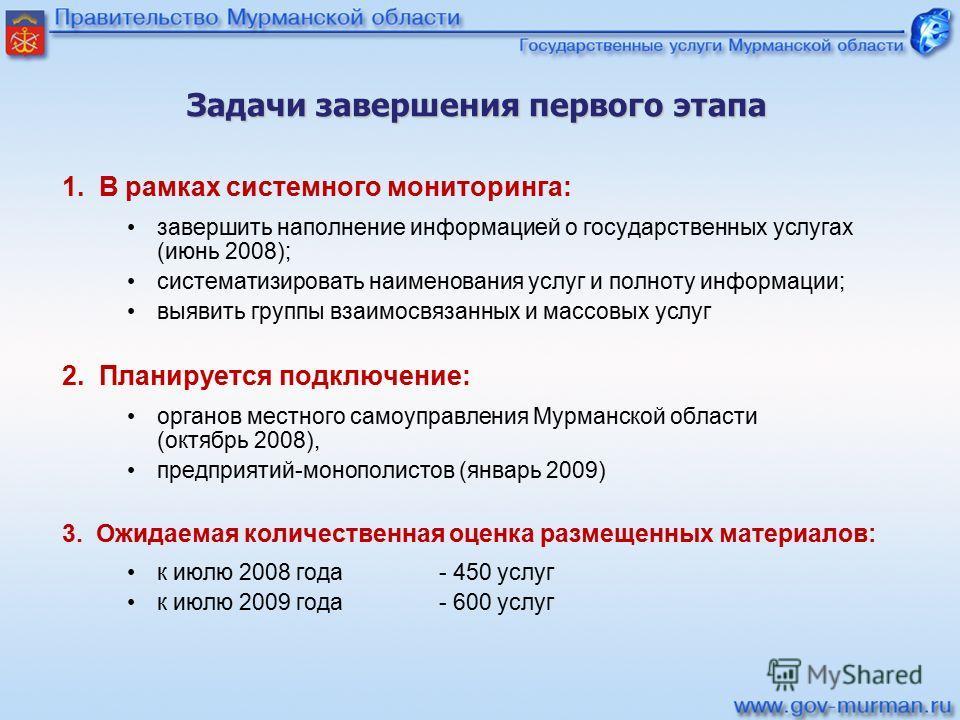 Задачи завершенияпервого этапа Задачи завершения первого этапа 1. В рамках системного мониторинга: завершить наполнение информацией о государственных услугах (июнь 2008); систематизировать наименования услуг и полноту информации; выявить группы взаим