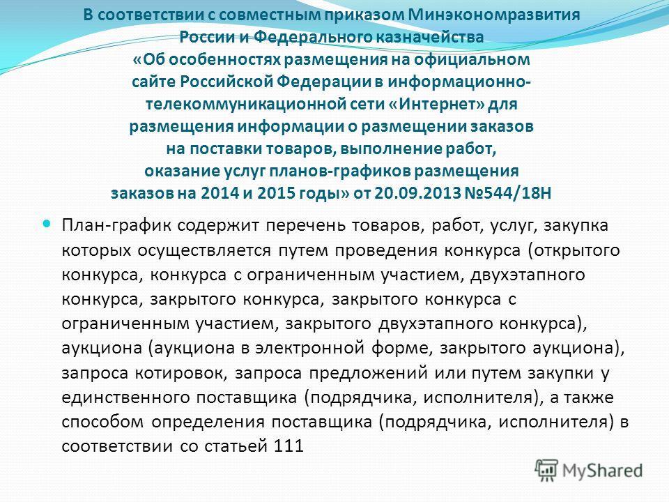 В соответствии с совместным приказом Минэкономразвития России и Федерального казначейства «Об особенностях размещения на официальном сайте Российской Федерации в информационно- телекоммуникационной сети «Интернет» для размещения информации о размещен