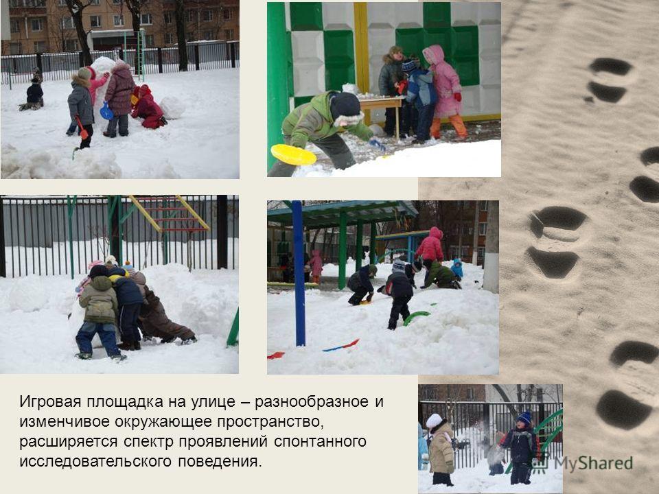 Игровая площадка на улице – разнообразное и изменчивое окружающее пространство, расширяется спектр проявлений спонтанного исследовательского поведения.