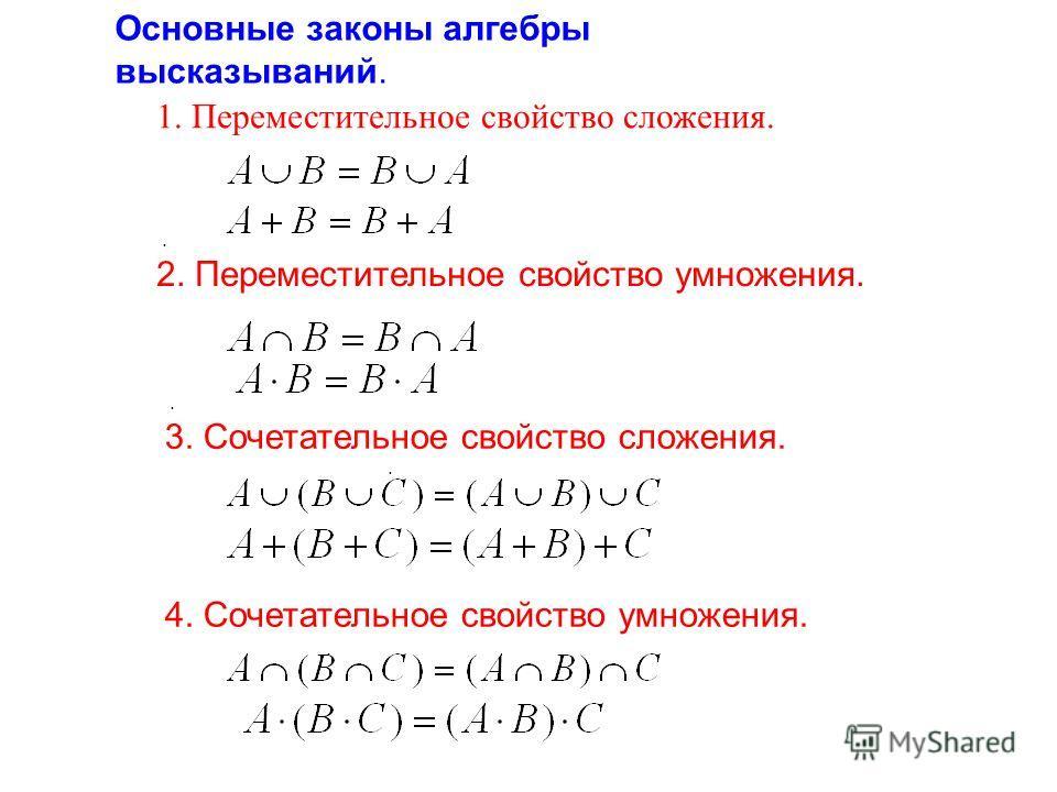 Основные законы алгебры высказываний.. 2. Переместительное свойство умножения.. 3. Сочетательное свойство сложения.. 4. Сочетательное свойство умножения.. 1. Переместительное свойство сложения.
