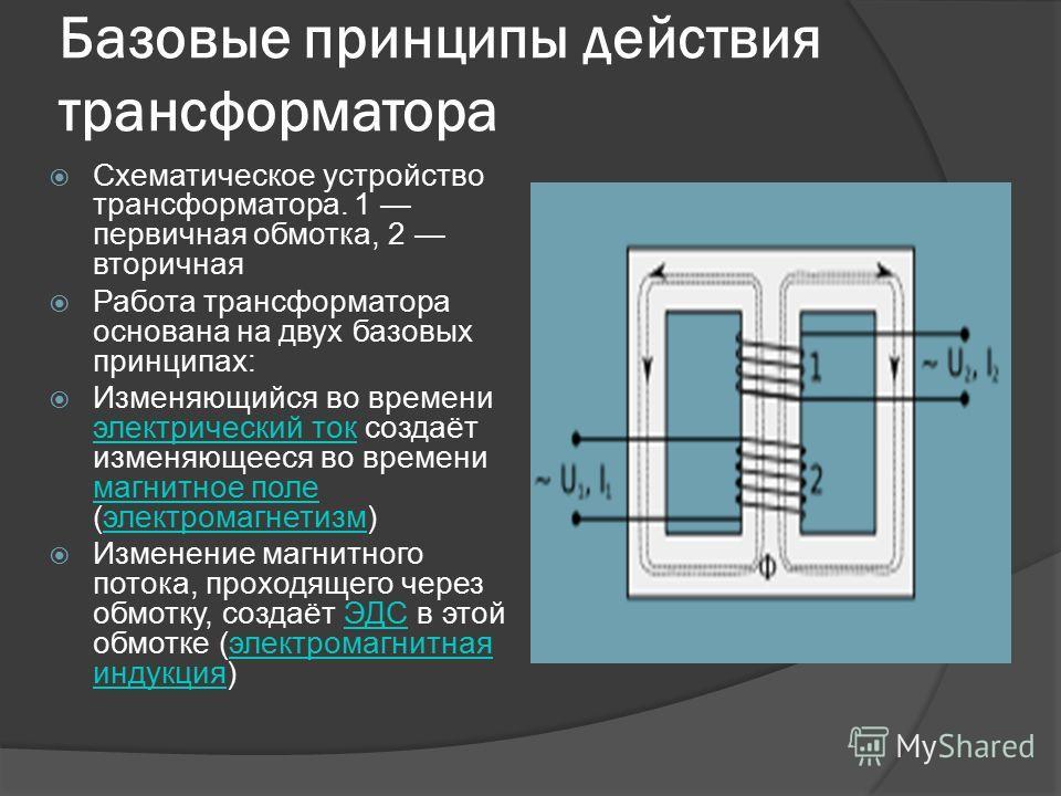 Базовые принципы действия трансформатора Схематическое устройство трансформатора. 1 первичная обмотка, 2 вторичная Работа трансформатора основана на двух базовых принципах: Изменяющийся во времени электрический ток создаёт изменяющееся во времени маг