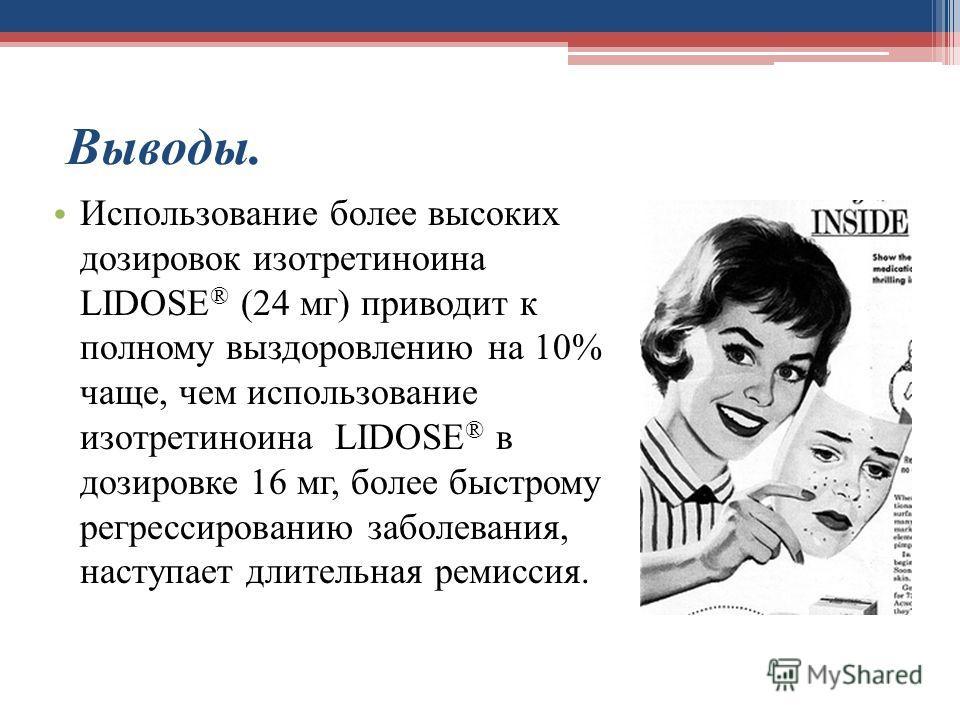 Выводы. Использование более высоких дозировок изотретиноина LIDOSE ® (24 мг) приводит к полному выздоровлению на 10% чаще, чем использование изотретиноина LIDOSE ® в дозировке 16 мг, более быстрому регрессированию заболевания, наступает длительная ре