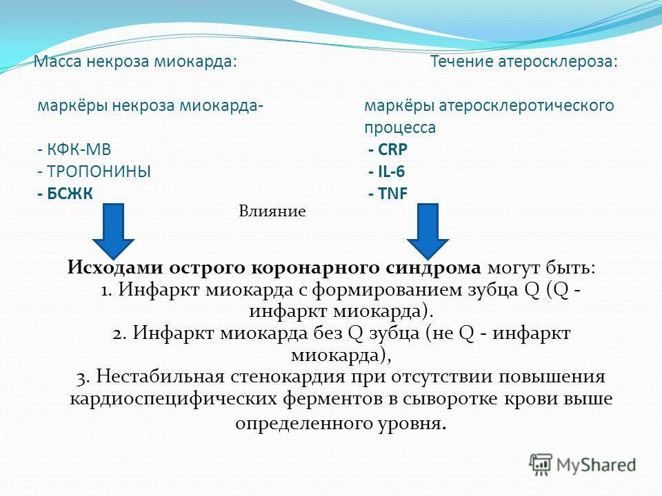 Масса некроза миокарда:Течение атеросклероза: маркёры некроза миокарда-маркёры атеросклеротического процесса - КФК-МВ - СRP - ТРОПОНИНЫ - IL-6 - БСЖК - TNF Влияние Исходами острого коронарного синдрома могут быть: 1. Инфаркт миокарда с формированием