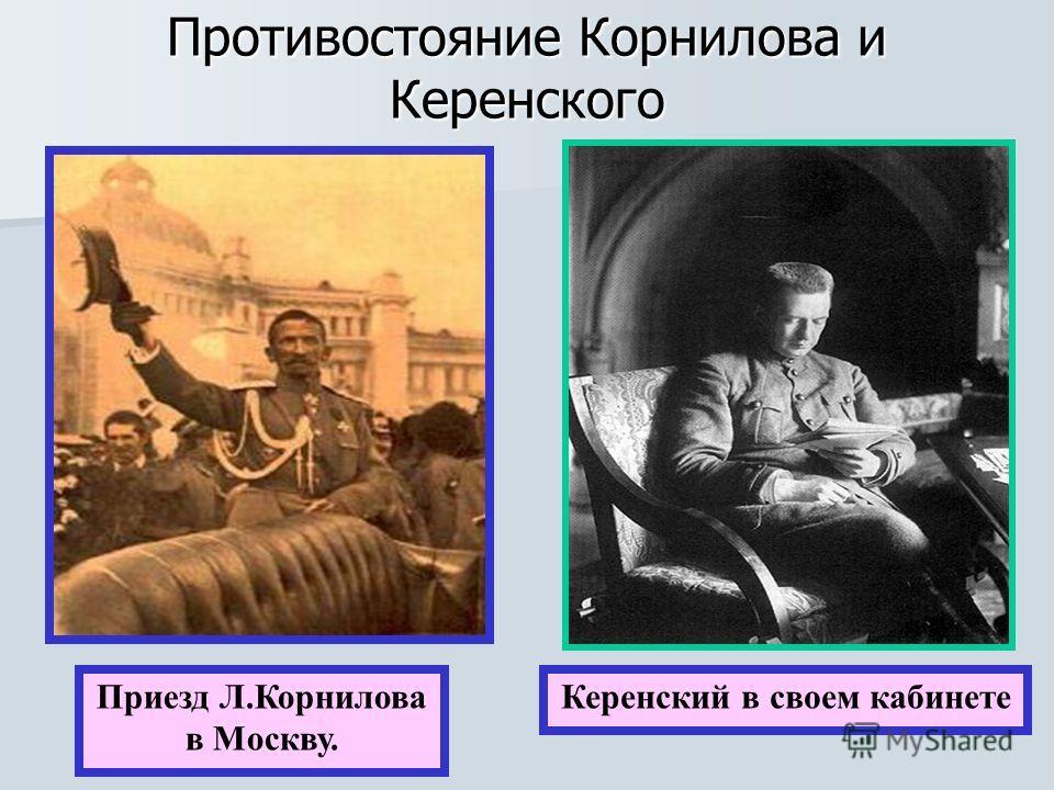 Противостояние Корнилова и Керенского Приезд Л.Корнилова в Москву. Керенский в своем кабинете