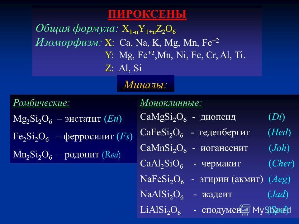 ПИРОКСЕНЫ Общая формула: Х 1-n Y 1+n Z 2 O 6 Изоморфизм: X: Ca, Na, K, Mg, Mn, Fe +2 Y: Mg, Fe +2,Mn, Ni, Fe, Cr, Al, Ti. Z: Al, Si Ромбические: Mg 2 Si 2 O 6 – энстатит (En) Fe 2 Si 2 O 6 – ферросилит (Fs) Mn 2 Si 2 O 6 – родонит (Rod) Моноклинные: