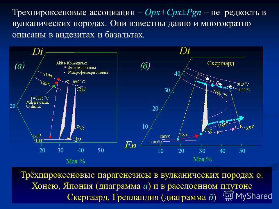 Трёхпироксеновые парагенезисы в вулканических породах о. Хонсю, Япония (диаграмма а) и в расслоенном плутоне Скергаард, Гренландия (диаграмма б) (а)(б) Трехпироксеновые ассоциации – Opx+Cpx±Pgn – не редкость в вулканических породах. Они известны давн