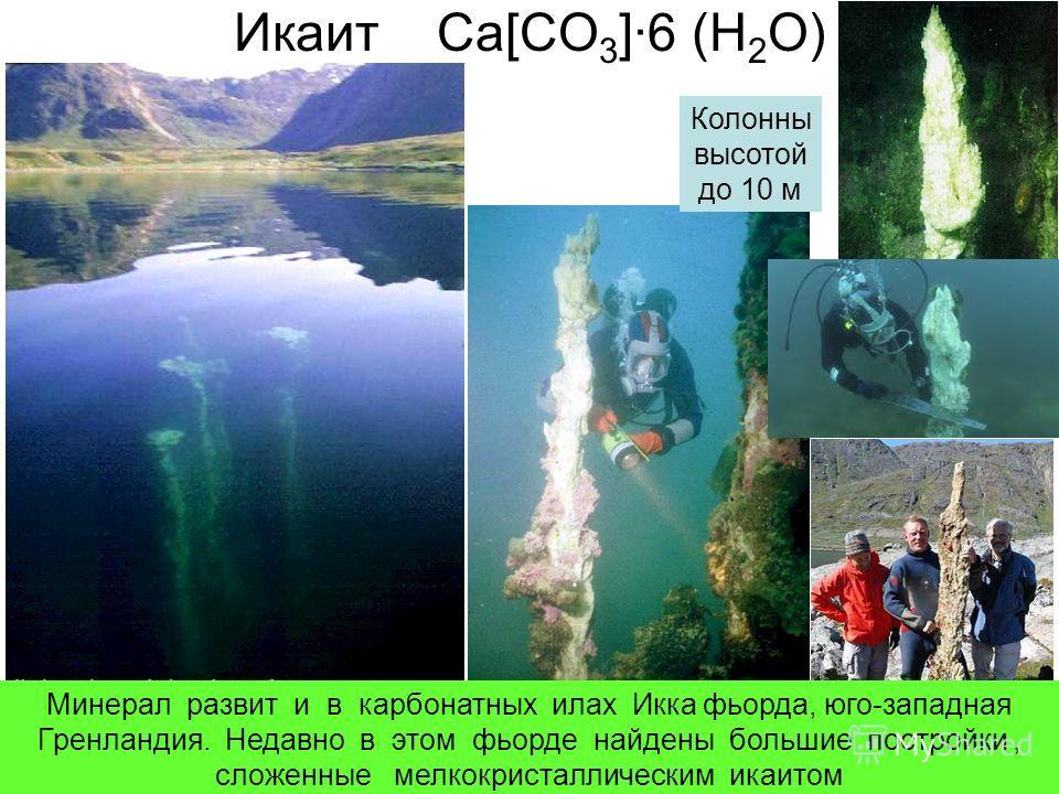 Икаит Ca[CO 3 ]·6 (H 2 O) Колонны высотой до 10 м Минерал развит и в карбонатных илах Икка фьорда, юго-западная Гренландия. Недавно в этом фьорде найдены большие постройки, сложенные мелкокристаллическим икаитом