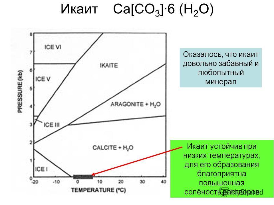 Икаит Ca[CO 3 ]·6 (H 2 O) Икаит устойчив при низких температурах, для его образования благоприятна повышенная солёность растворов Оказалось, что икаит довольно забавный и любопытный минерал
