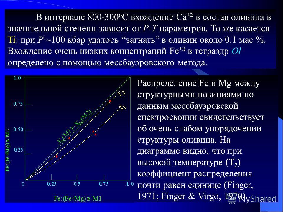 В интервале 800-300 о C вхождение Са +2 в состав оливина в значительной степени зависит от Р-Т параметров. То же касается Ti: при Р ~100 кбар удалось загнать в оливин около 0.1 мас %. Вхождение очень низких концентраций Fe +3 в тетраэдр Ol определено