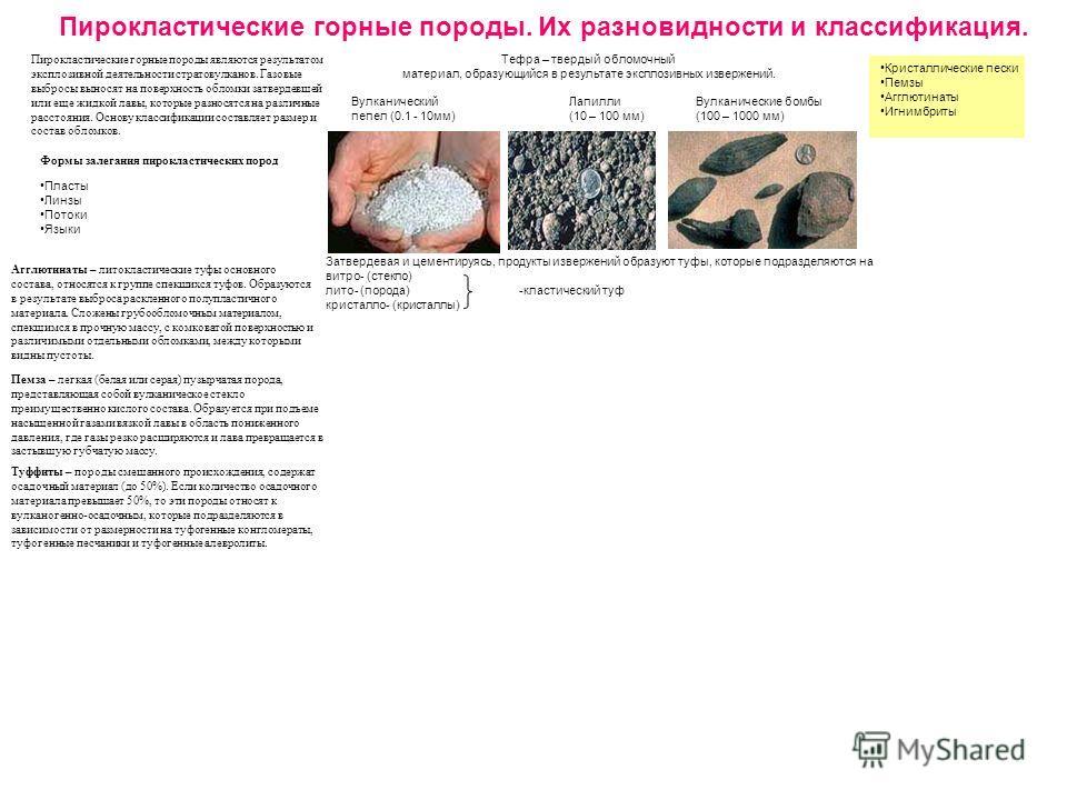 Пирокластические горные породы. Их разновидности и классификация. Пирокластические горные породы являются результатом эксплозивной деятельности стратовулканов. Газовые выбросы выносят на поверхность обломки затвердевшей или еще жидкой лавы, которые р
