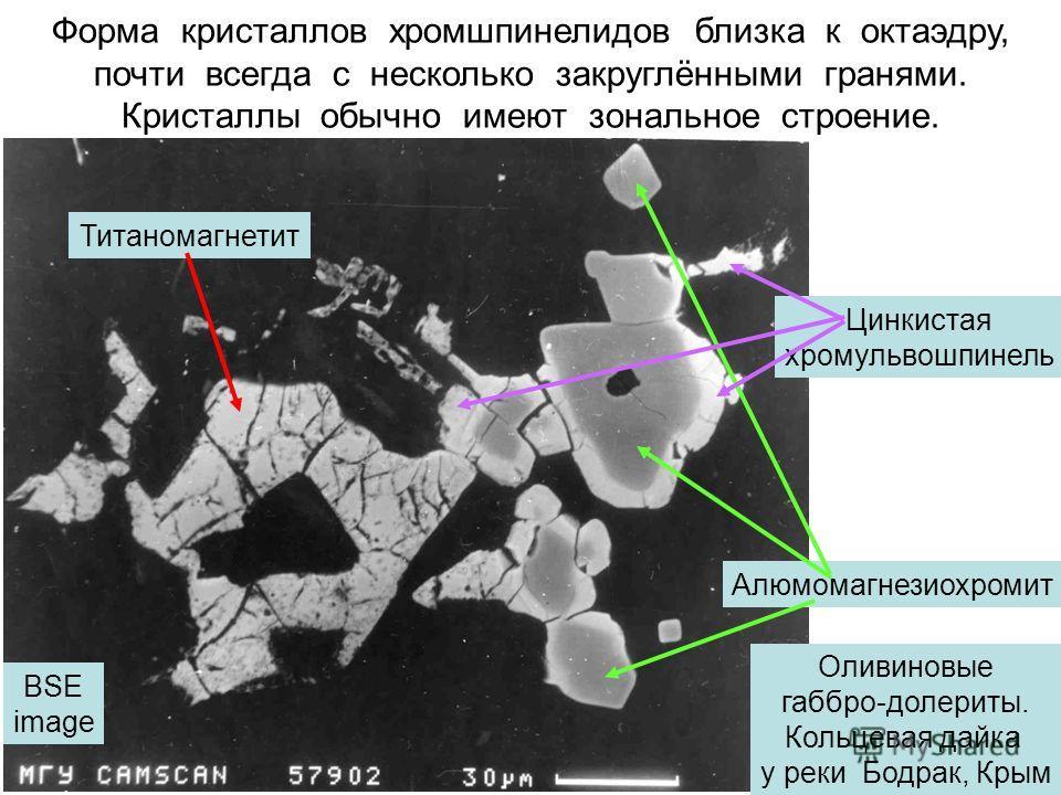 Форма кристаллов хромшпинелидов близка к октаэдру, почти всегда с несколько закруглёнными гранями. Кристаллы обычно имеют зональное строение. Титаномагнетит Алюмомагнезиохромит Цинкистая хромульвошпинель Оливиновые габбро-долериты. Кольцевая дайка у