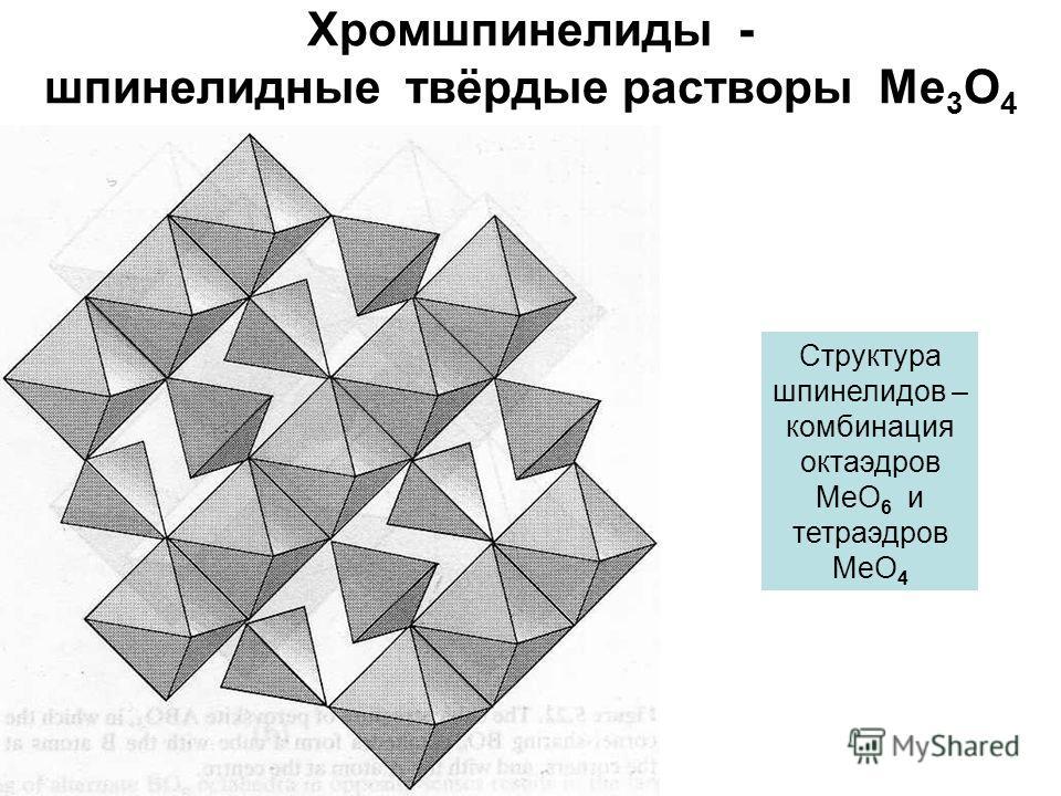 Хромшпинелиды - шпинелидные твёрдые растворы Me 3 O 4 Структура шпинелидов – комбинация октаэдров МеО 6 и тетраэдров МеО 4