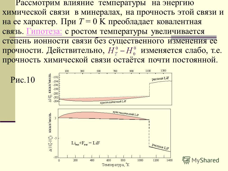 Рассмотрим влияние температуры на энергию химической связи в минералах, на прочность этой связи и на ее характер. При Т = 0 K преобладает ковалентная связь. Гипотеза: с ростом температуры увеличивается степень ионности связи без существенного изменен