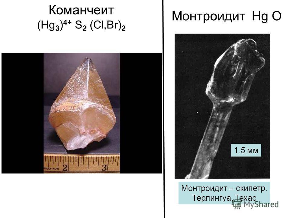 Команчеит (Hg 3 ) 4+ S 2 (Cl,Br) 2 Монтроидит Hg О Монтроидит – скипетр. Терлингуа, Техас 1.5 мм
