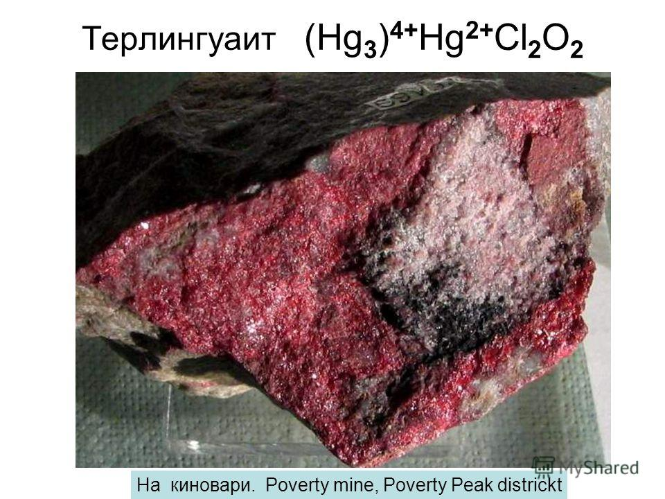 Терлингуаит (Hg 3 ) 4+ Hg 2+ Cl 2 O 2 На киновари. Poverty mine, Poverty Peak districkt